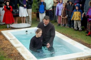 Baptizing at White Oak Church of the Brethren
